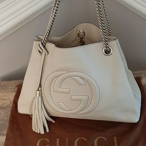 STUNNING GUCCI CREAM LEATHER SOHO
